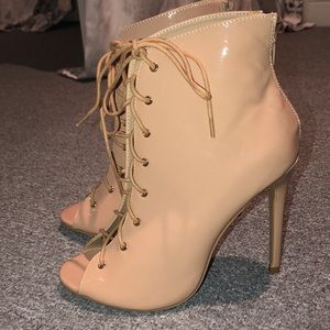 Nude/pink lace up heels